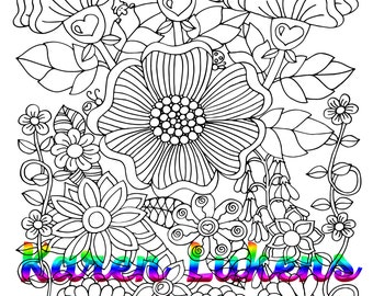 Garden Delight, 1 Adult Coloring Book Page, Printable Instant Download
