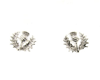 Sterling Silver Scottish Thistle Design Stud Earrings
