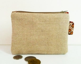 Wallet zipped pouch natural linen and lining cotton block print