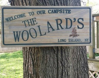 "Personalized Wood Camp Sign 18"" L x 8"" H"