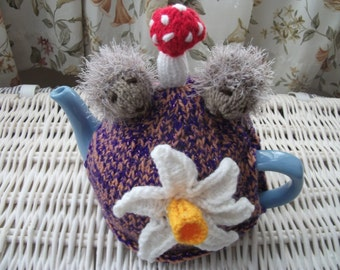 Handmade Knitted Hedgehogs, Daffodil and Toadstool Tea cosy/cozy