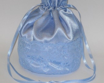 Blue Satin & Blue Lace Dolly Evening Handbag Or Purse For Wedding Or Bridesmaid