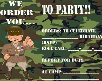 5x7  Military Invitation (Camo GREEN or PINK)