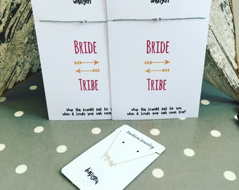 Hen party bride tribe bracelets x 5 with Mrs necklace