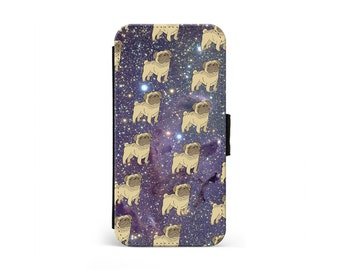 Space Pug Wallet Flip Case, Galaxy Nebula, Cute Pug Dog, Puppy iPhone Case, Samsung Case, iPhone Cover, iPhone Wallet \ lf-pp046