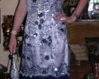 Vintage 1990's silver grey satin & embellished net ladies Gatsby dress ft. shimmy fringe hemline size: 10