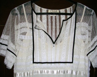 Vintage 1930's reproduction Gatsby style black & white embellished exquisite silk/lace/net dress by Chloe size: 10