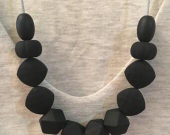 Black Silicone Necklace (former teething/chew) Australia Sensory Jewellery Breastfeeding Tool for Mum Beads BPA free Sensory Baby Gift