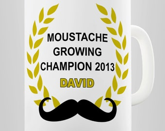 Personalised Moustache Growing Champion Ceramic Mug