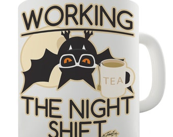 Funny Bat Working The Night Shift Ceramic Novelty Mug