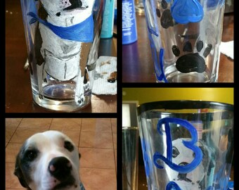 Hand painted dog tall glass