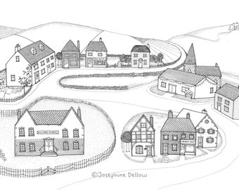 Village Black & White Line Drawing Print, Architectural Houses, Shops, Buildings, Detailed Cute Illustration, Quirky Wall Art A3