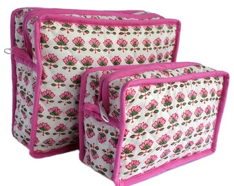 Wood-Block Printed Toiletry Bags with Piping and hooks
