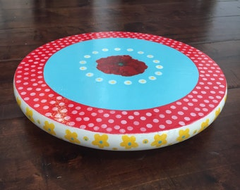12x1 inch lazy Susan, red poppies, blue, polka dots, yellow, floral, hand-painted, decoupage, teal, aqua, spinning tray, rotating tray