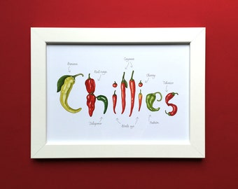 Chillies, lettered and illustrated print for framing. Kitchen decor, wall art print. A4 or 8x10inch.