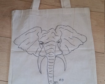 Hand drawn tote shopping bag