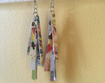 The Birthday Party Pair (Recycled Credit Card Earrings)