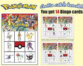 Pokémon Bingo game. Pokemon catch em all game.
