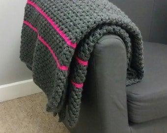 Dark grey and pink neon blanket