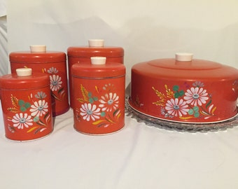 Vintage 1950's Red Ransburg Hand painted Floral Tin Canister Set Cake Keeper