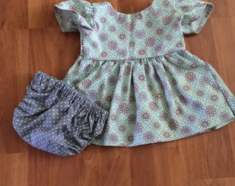 0-3 month dress with diaper cover