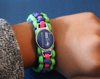 Seattle Seahawks Paracord Bracelet (Breast Cancer-Pink)