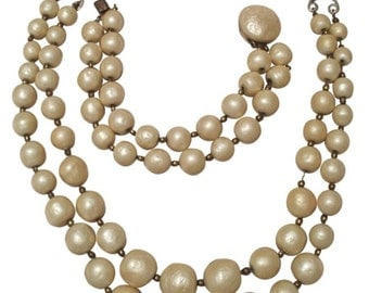 Vintage 40s Baroque Style Glass Pearl Bead Necklace Heavyweight Faux Pearls Creme Pearls Double Strand Jewelry Set