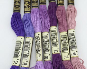 Purples, Blues, Greens: DMC Classic 6 Strand Embroidery Floss (100% Egyptian cotton)
