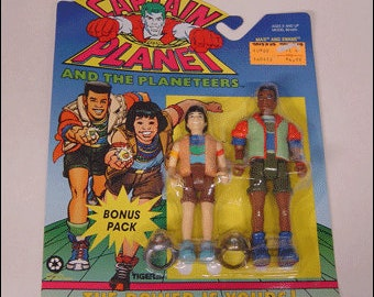 Ma-Ti and Kwame from Captain Planet Vintage 1991 Action Figure Tiger Toys MOC