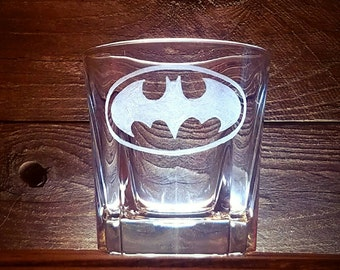 Batman Rocks Glass / Bourbon Glass / Hand Engraved / Superhero Glass / Gift for Him / Customizable Gift