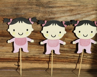 It's a girl party, 12-piece baby toddler girl cutout, baby shower decoration,  Cupcake topper, cake topper, center piece