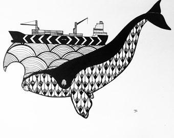 Whale Ship , Print