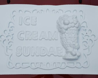 Ice Cream Sundae. Vintage three dimensional plastic sign , remade with original equipment from the 50s and 60s