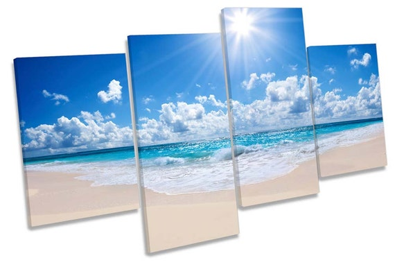 Beach Scene Seascape Multi CANVAS WALL ART Box Frame Print