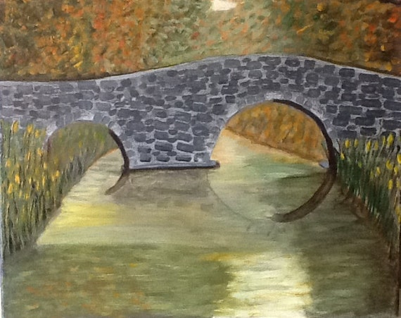 Old Stone Bridge,  original hand painted artwork, scenic water art, reflective water art, bridge painting, summertime scenic art,