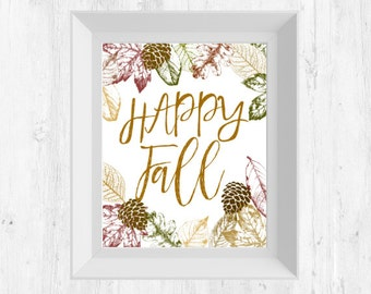 Happy Fall Leaves Traditional Colors Digital Print