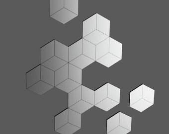 Mirror wall Design dial - hexagons