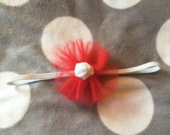 Red or blue flower headband