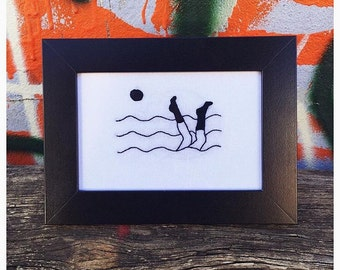Swimming in Ocean Framed Embroidery
