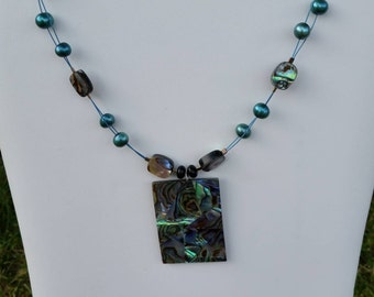 Necklace with Abalone Shell and Pearls