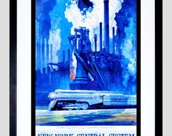 Travel Transport Rail Train Railway Industry Factory Usa Fine Art Poster FECC4534