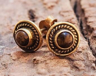 Tiger Eye Stud Earrings // Brass Earrings // Gemstone Earrings // Brass Ear Studs // Brass Post Earrings // Brass Ear Posts
