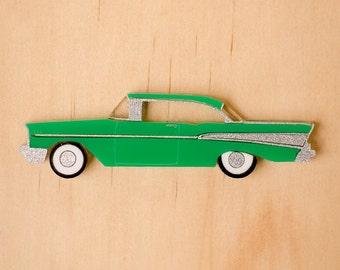 Green Retro '57 Chevy Brooch