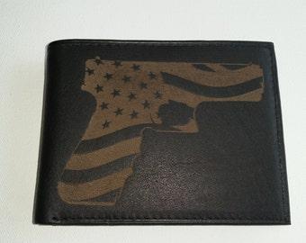 Laser Engraved Leather Wallet // Gun with American Flag Inset // Custom Laser Engraved