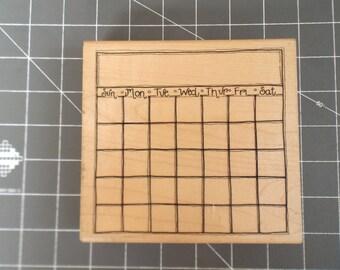 large calendar wood mount rubber stamp