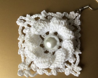 "Crochet Earrings ""Alice"", Vintage Bridal Crochet Jewelry, either part of a set or stand alone"