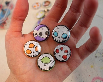 Handdrawn Skulls - pack of 5 one inch pins (random)