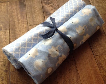 Two Baby boy blue swaddling blankets, extra large baby blanket,  nursing blanket, receiving blanket