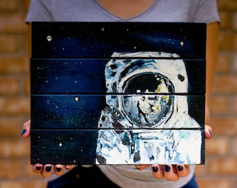 Space Art, Wood Signs, Impressionist Painting, Astronaut, Wall Decor, Wall Hanging, Pallet Art, Wood Art, Galaxy, Outer Space, Cosmic