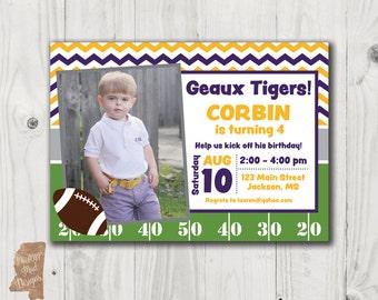 Birthday Invitation - LSU football w photo